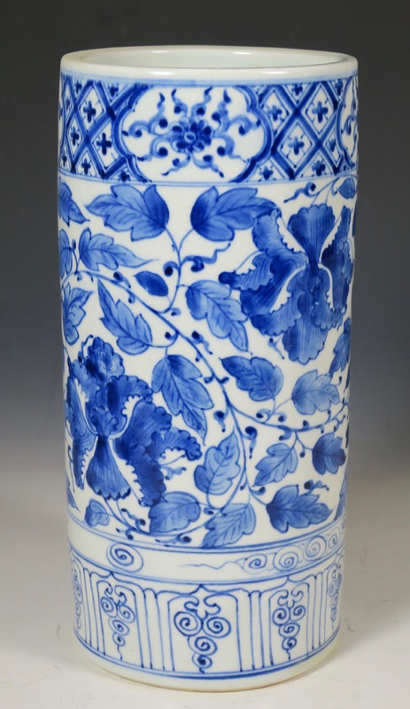 Jarrón de porcelana china azul y blanco