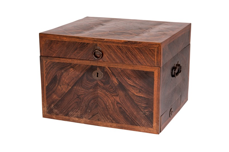 A large kingwood parquetry wooden box with antique iron fittings, 18th Century