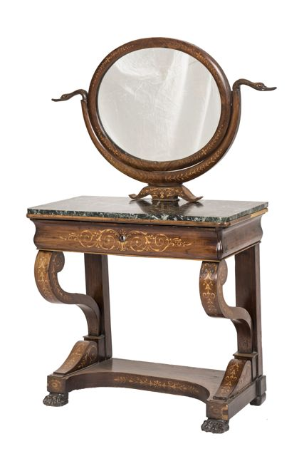 A French mahogany dressing table with satinwood marquetry, 19th century