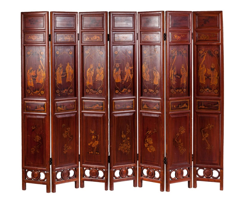 A Chinese gilded decorated wooden seven-panel folding screen, 19th - 20th Century