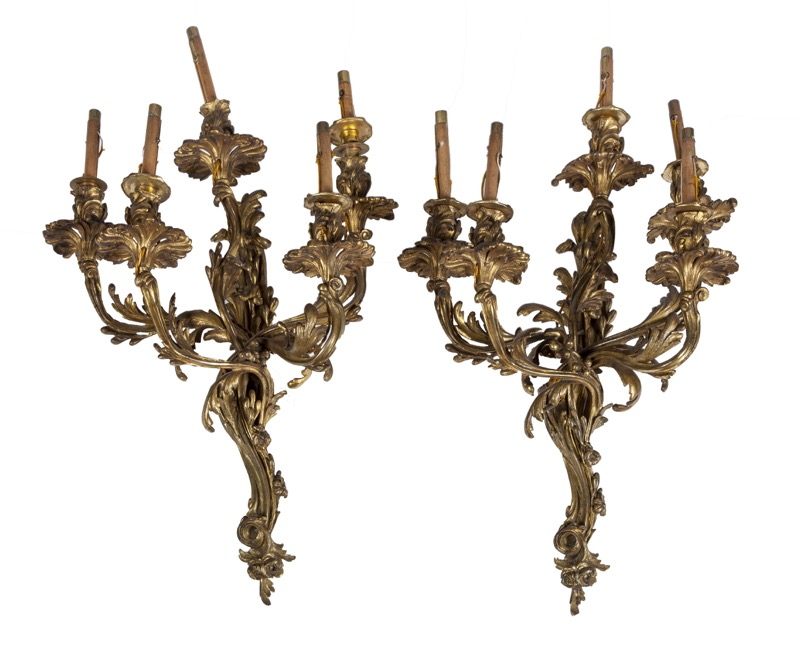 A pair of French bronze five-light wall appliques in Louis XV style, 19th Century