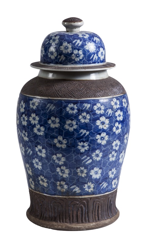 Tibor de porcelana china azul y blanco