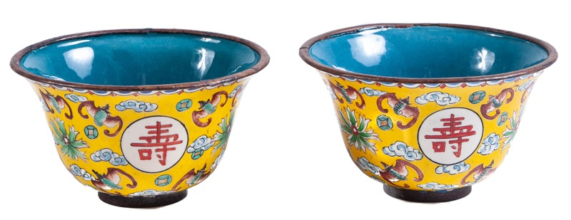 A pair of Chinese enamelled bronze cups
