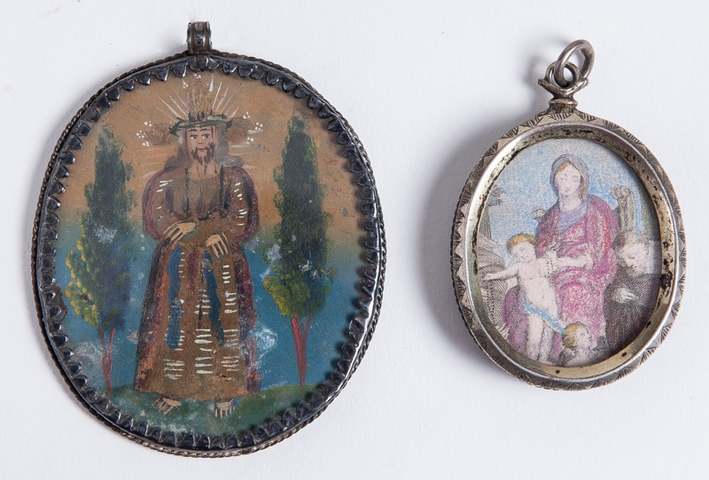 "A colonial reliquary with silver frame and reverse painted glass ""Ecce Homo"" and ""Virgin with the Child"", 17th Century