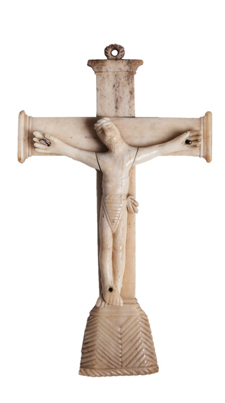 A carved bone Christ Crucified, Colonial work 17th - 18th Century