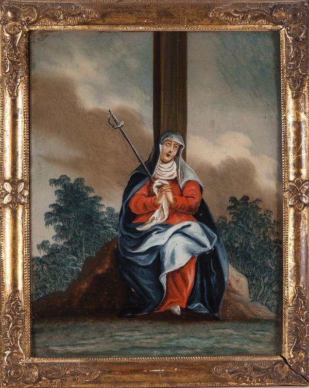 "Reverse glass painting ""Our Lady of Sorrows"", 18th Century