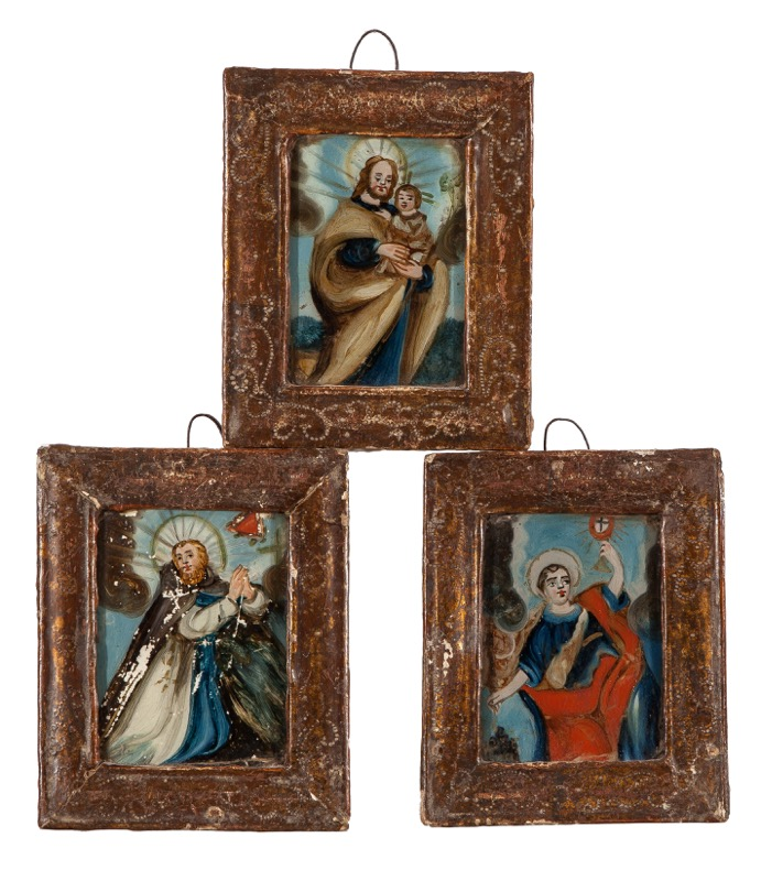 A set of three reverse glass paintings with Saints, 18th Century