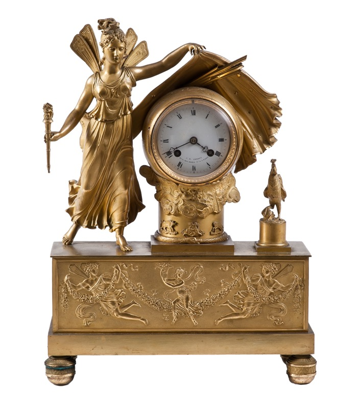 "A French ormolu mantel clock with a winged figure, Empire period, Early 19th Century. Signed dial ""J.B. Perret Quai des Hormes nº8 à Paris""