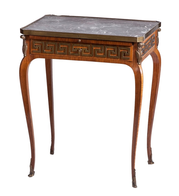 A French marble-top, ormolu-mounted and tulipwwod side table in Transition style between Louis XV and Louis XVI
