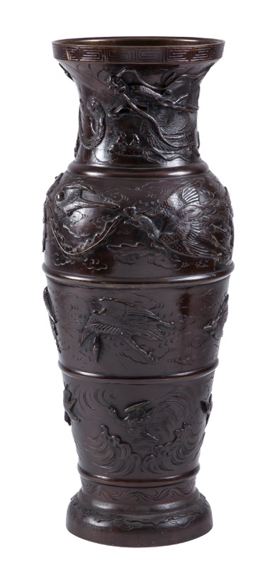 A Chinese bronze vase with decoration in relief, 19th Century