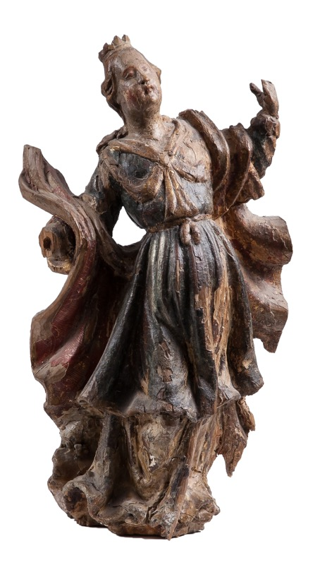 "A carved and polychrome wood sculpture of ""Saint Barbara"", Portuguese work of the 18th Century