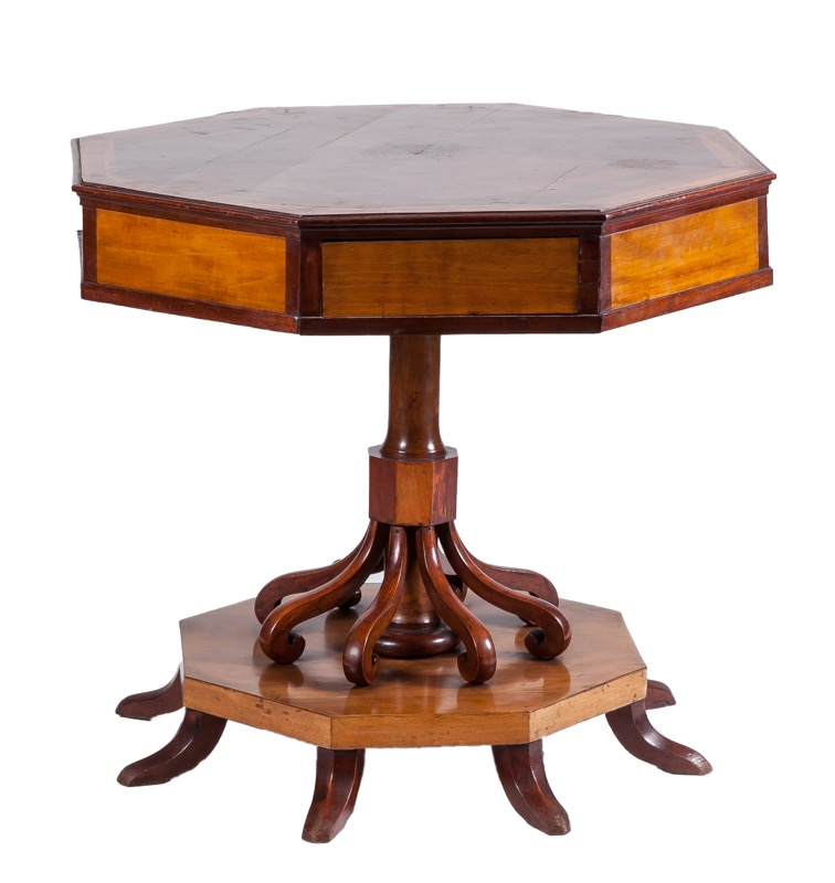 An octogonal mahogany and satinwood side table