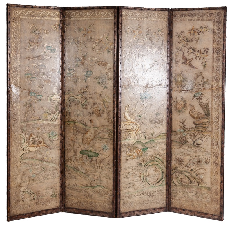 A polychrome-decorated leather four-leafs screen, 18th Century and later