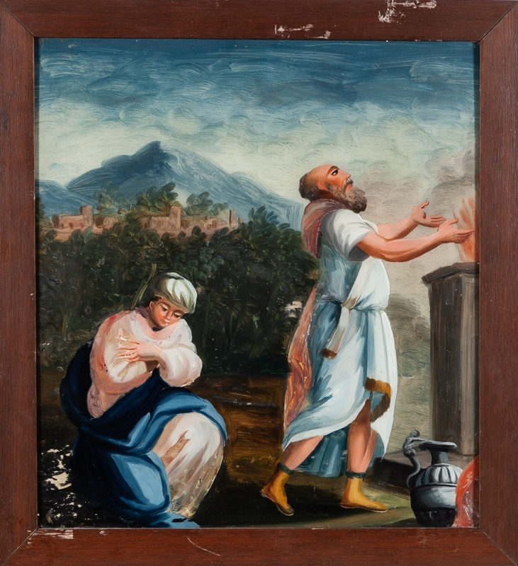 "Reverse glass painting ""The Sacrifice of Isaac"", Italian work of the 18th - 19th Century