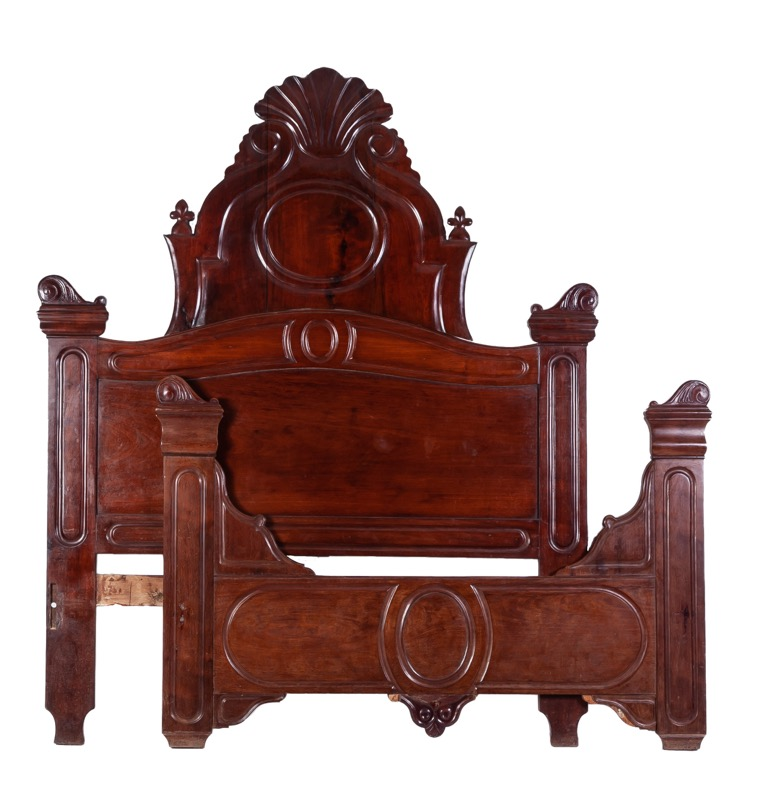 A Spanish mahogany bed, Isabella II of Spain period, 19th Century
