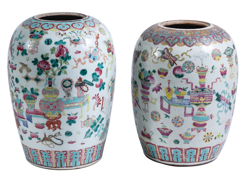 Two Chinese glazed porcelain vases