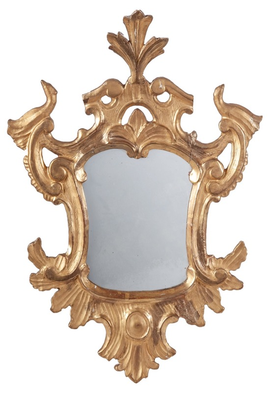 A Spanish carved giltwood mirror, 18th Century