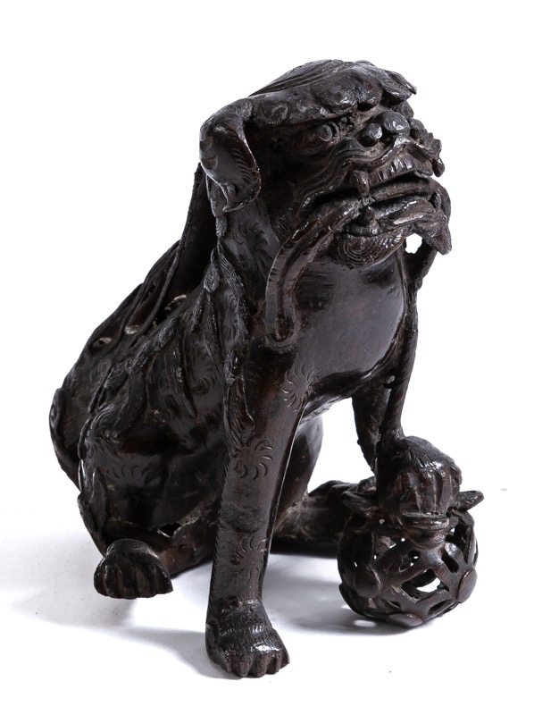 A Chinese bronze guardian lion, 19th century