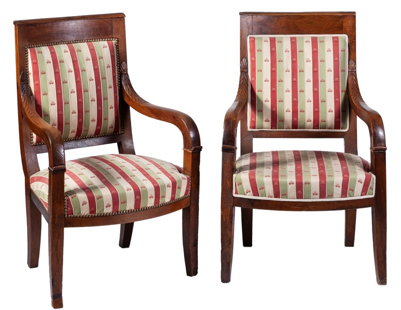 A pair of French Empire mahogany armchairs, Early 19th Century