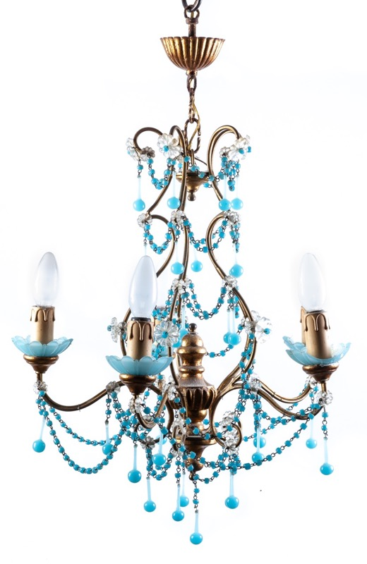 An iron, blue opaline and wood ceiling lamp