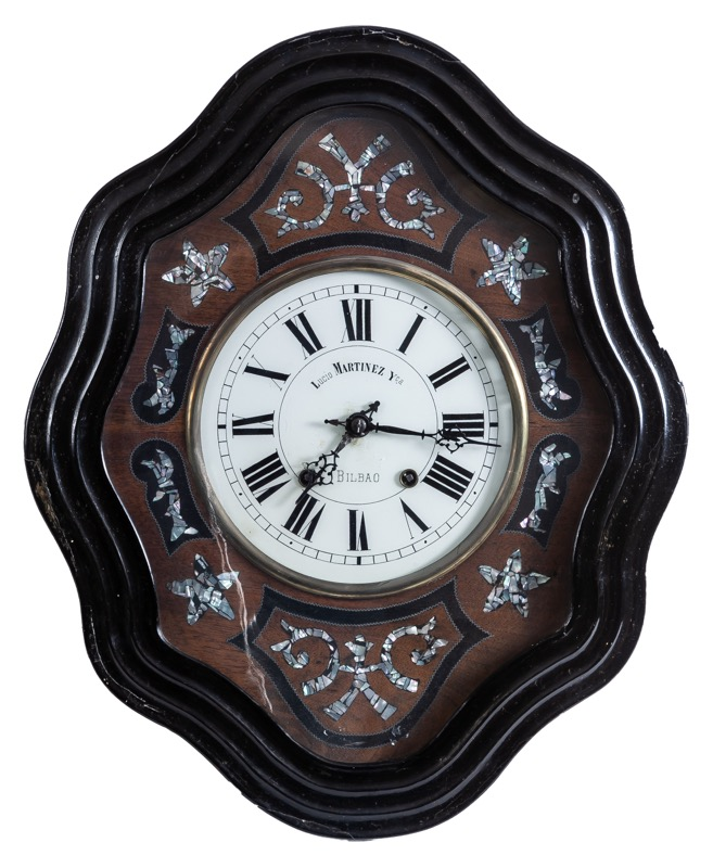 A Spanish mother-of-pearl and ebonised wood wall clock, Isabella II of Spain period, 19th Century