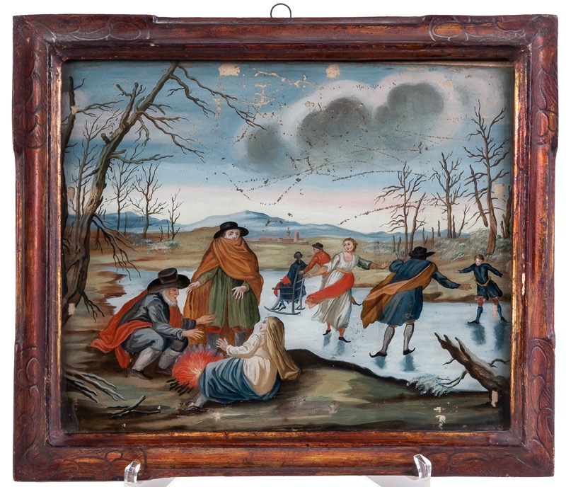 "A reverse glass painting ""Winter secne"" 18th Century