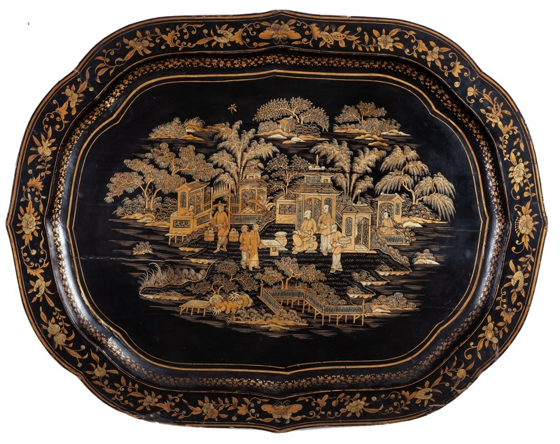 A Chinese gilded and black lacquered papier maché tray, Canton mid 19th Century