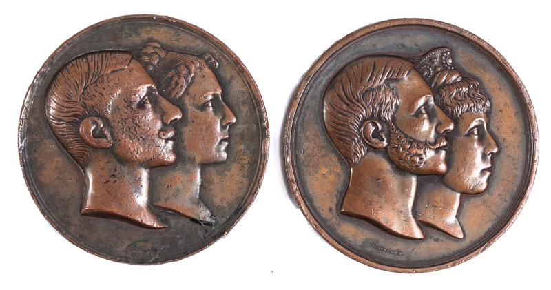 Two Spanish bronze commemorative medals of Alfonso XII of Spain weddings