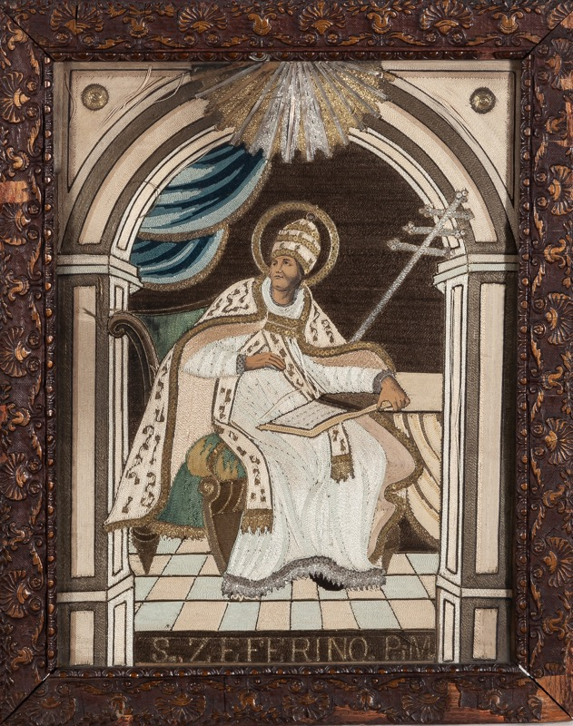 """Pope Saint Zephyrinus"", a silk embroidery of 18th Century