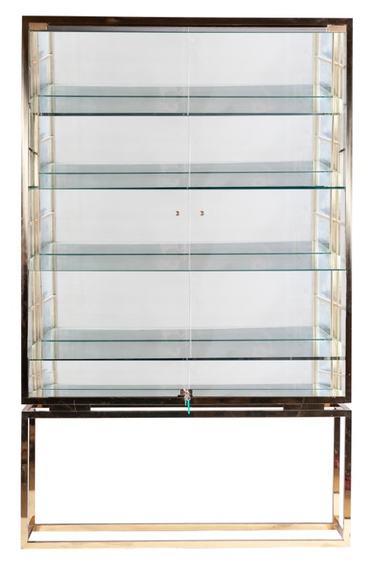 A brass and glass showcase, 1980s