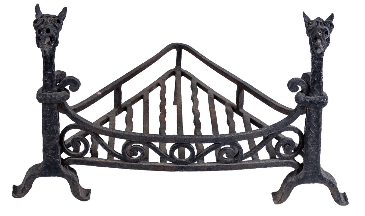 Catalan wrought iron andirons, Early 20th Century