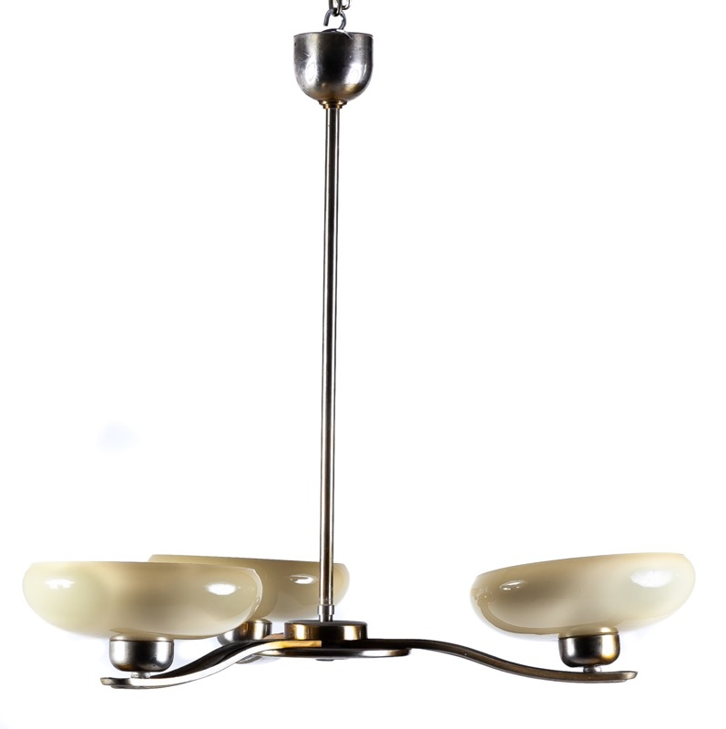 A Catalan metal and glass ceiling lamp, 1930s