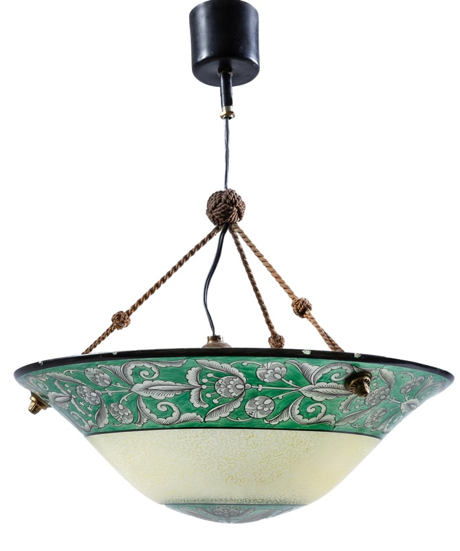 A Catalan enamelled glass ceiling lamp, 1920s