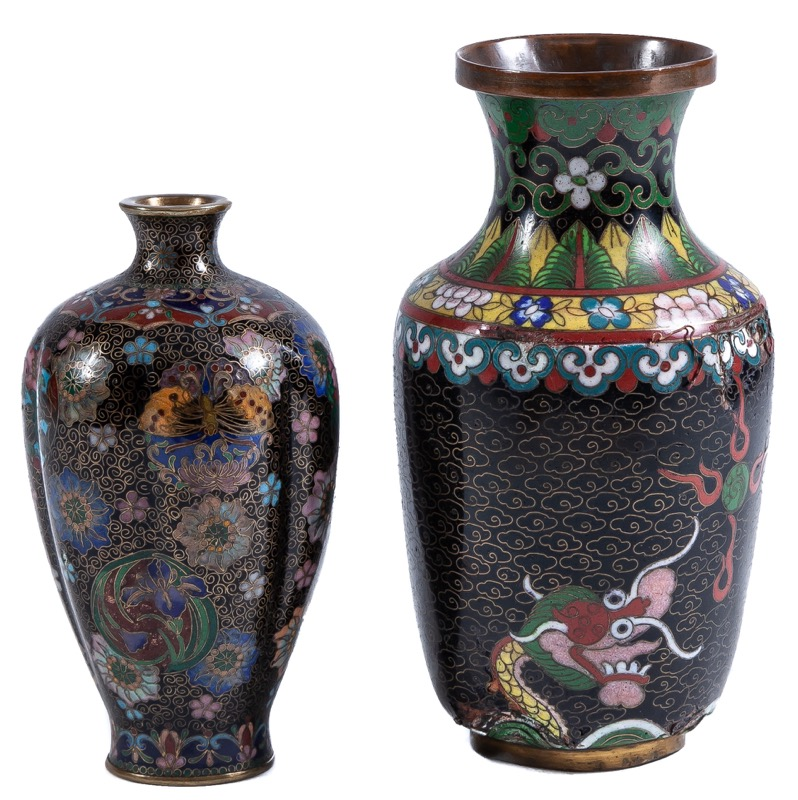 Two Chinese cloisonné enamel vases, Early 20th Century