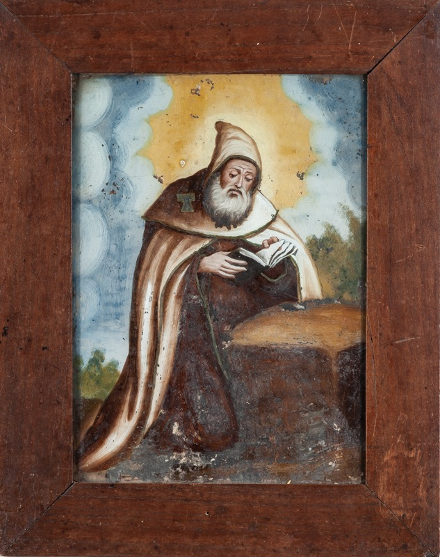 "Reverse glass painting ""Saint Anthony the Great"" 18th - 19th Century
