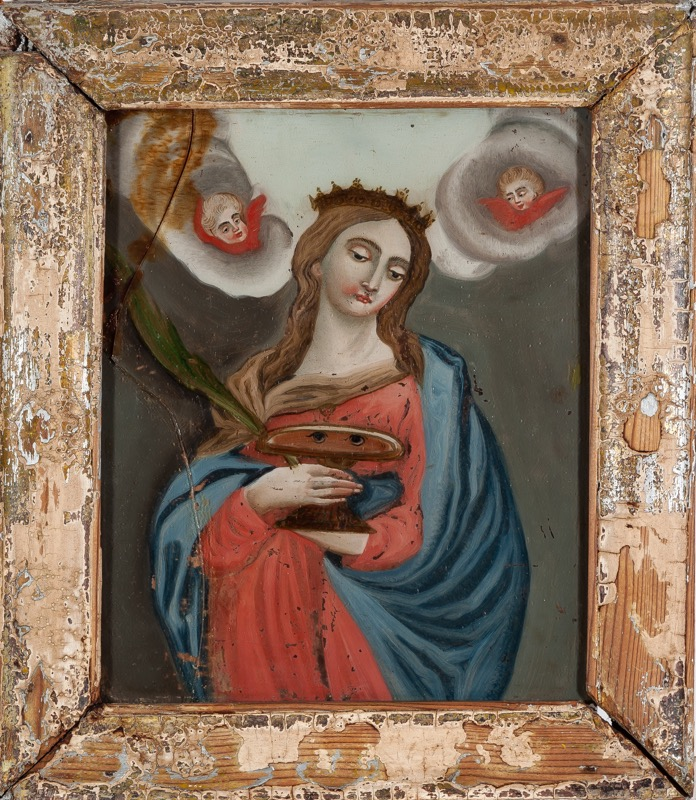 "Reverse glass painting ""Saint Lucy"", 18th Century