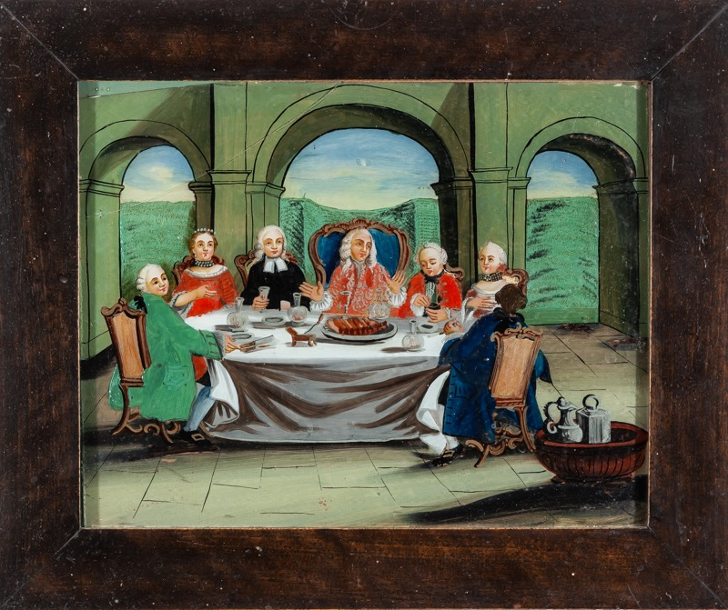 "Reverse glass painting ""Banquet"" Central-Europe work of the 18th Century 