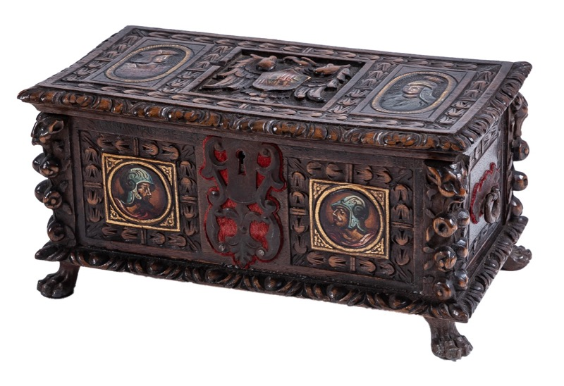 A Toledo carved and polychrome-decorated box in Renaissance style