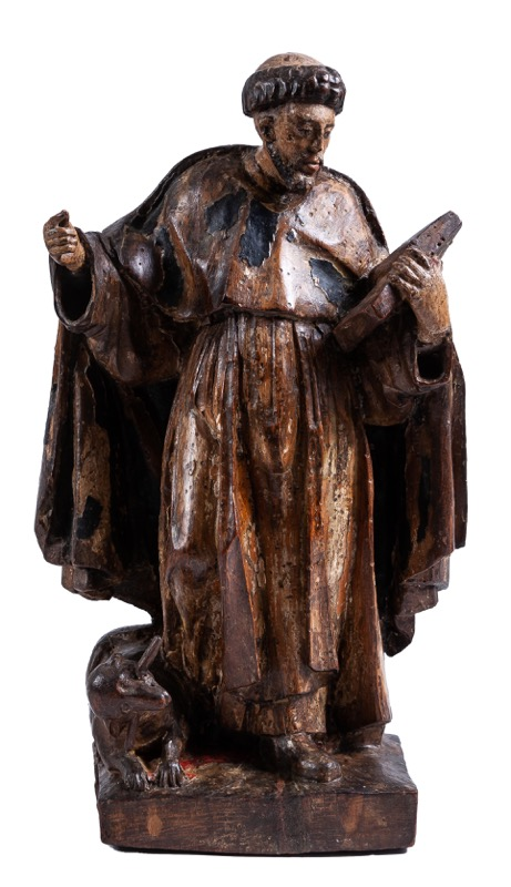 "A carved and polychrome-decorated wooden sculpture of ""Santo Domingo de Guzmán"", Early 17th Century