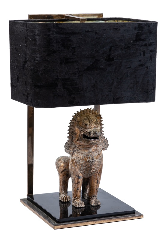 A black lacquer, brass and gilt-bronze table lamp