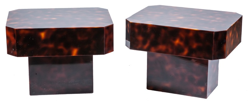 A pair of simulated tortoiseshell side tables, 1970s