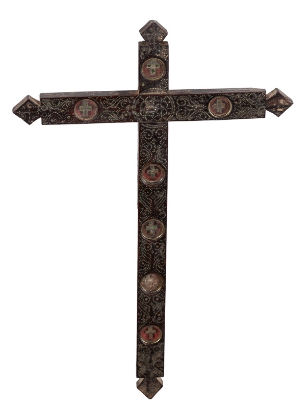 A metal and wood cross reliquary, Colonial Spanish work of 17th Century