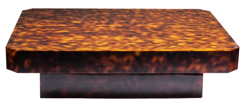A simulated tortoiseshell coffee table, 1970s