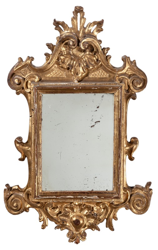A Spanish carved giltwood mirror, Philip V of Spain period, 18th Century