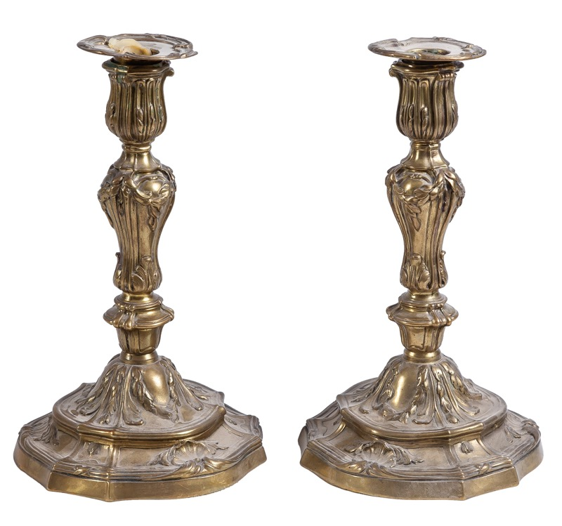A pair of bronze candlesticks in Louis XV style