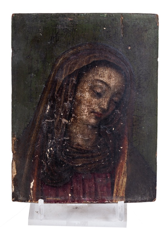 "A wooden icon of ""Our Lady of Solitude"", 19th Century