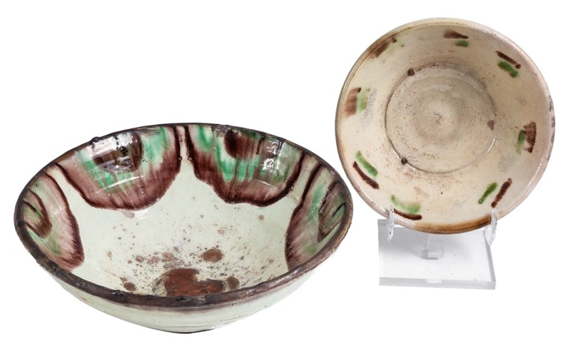 Two Andalusian glazed ceramic basins