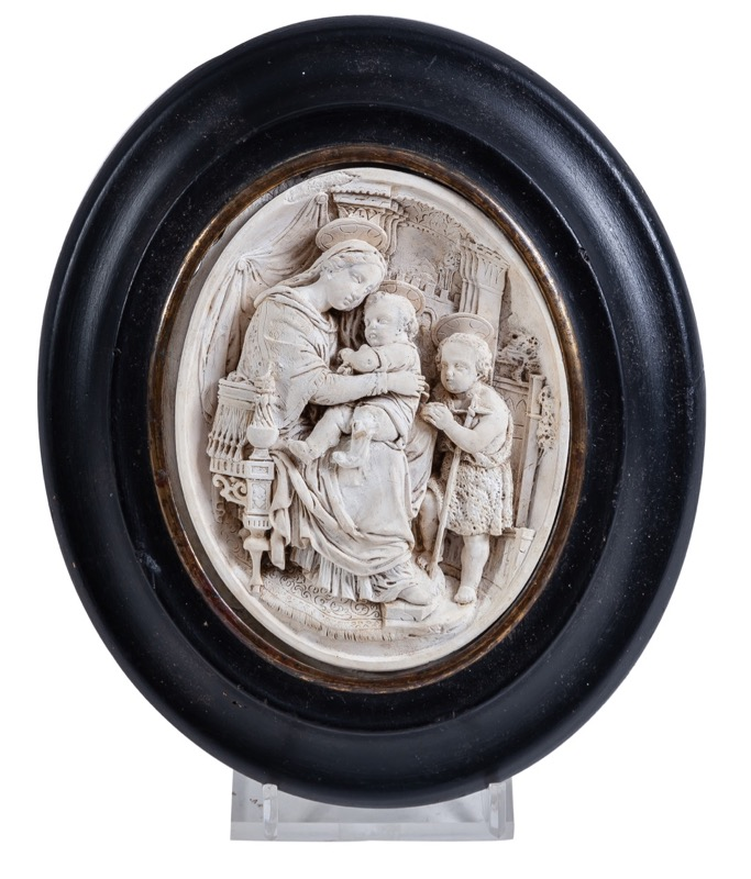 "An oval meerschaum relief ""Virgin Mary with Christ Child and the Infant Saint John Baptist"", 19th Century