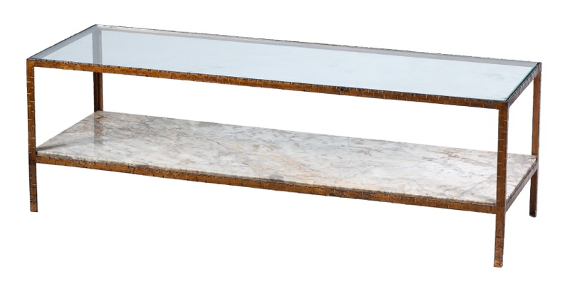 A marble, glass and gilded-iron coffee table