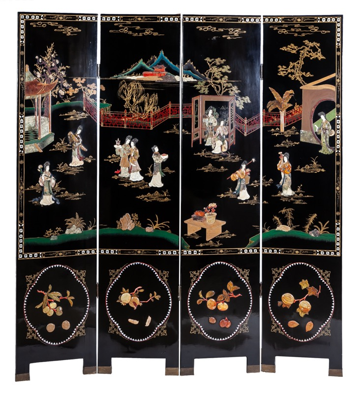 A black lacquered four-leafs folding-screen with pietra dura, Oriental work of the 20th Century